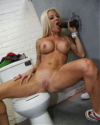 gloryhole blowjobs4 tn Sexy blonde Helly Mae Hellfire milks a black cock in a restroom