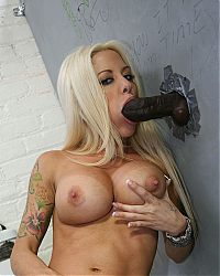 gloryhole blowjobs5 tn Sexy blonde Helly Mae Hellfire milks a black cock in a restroom