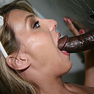 hot blonde sucking off a big black cock at a public glory hole from GloryHole