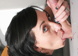 12 Alia Janine swallows an unknown guys dick at a glory hole